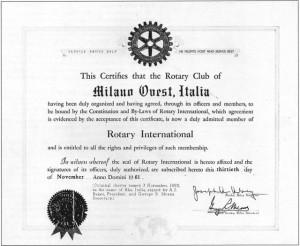 Carta ammissione 1961 Rotary International del R.C. Milano Ovest
